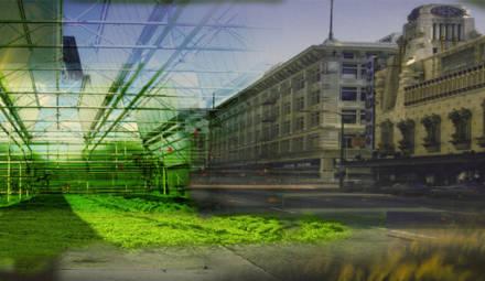 vue d'artiste d'une espace agricole et urbain partagé