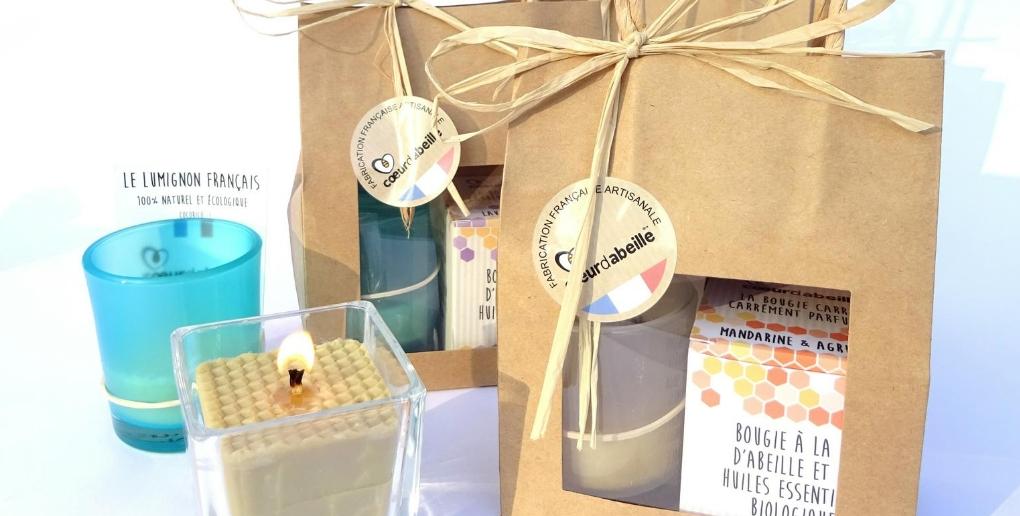 packaging des bougies de la start-up coeur d'abeille