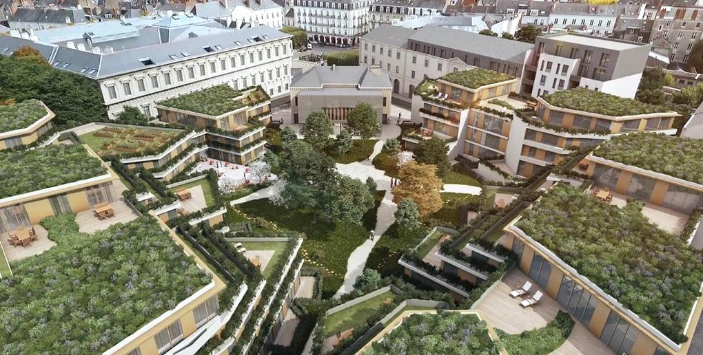 Vue aérienne du projet d'aménagement de l'ancienne maison d'arrêt de Nantes par l'entreprise topager
