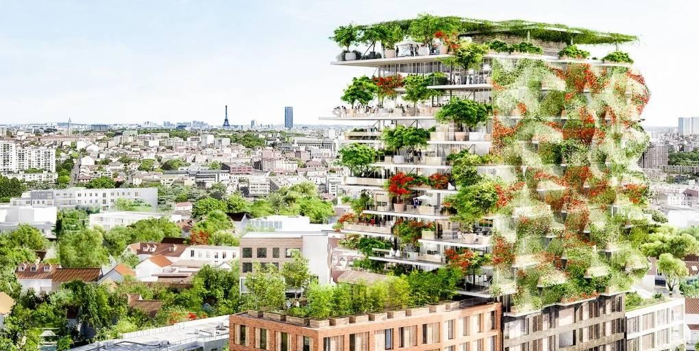 vue d'artiste de projet d'immeuble végétalisé par la société topager