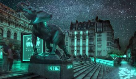 projection de ville éclairée grâce aux solutions de la start-up Glowee