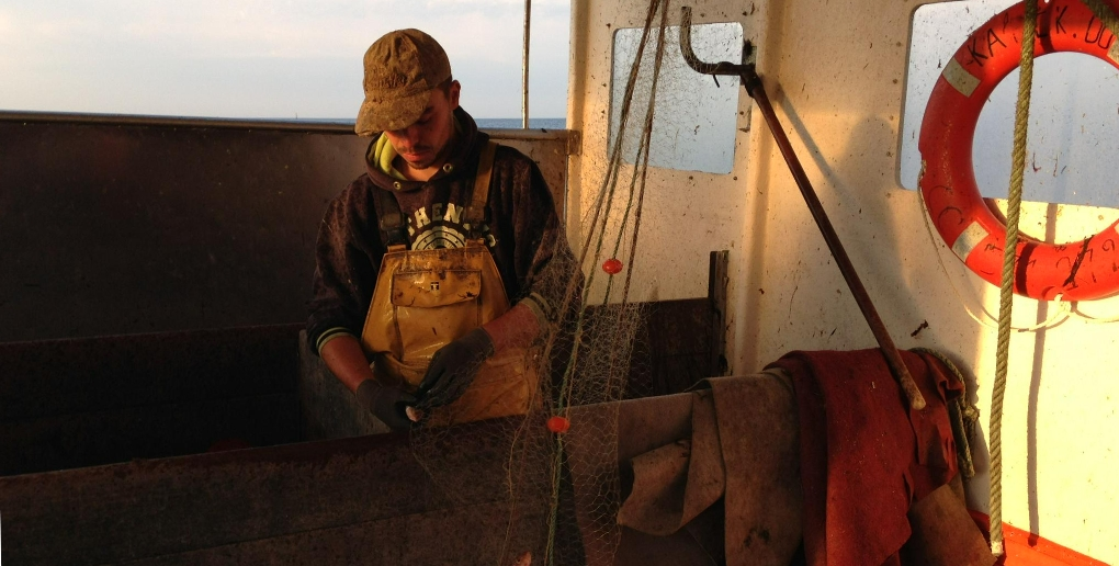 un pêcheur breton en train de démailler ses filets
