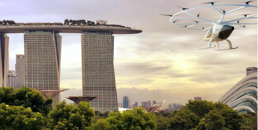 vue d'artiste du projet de taxis volants du groupe Volocopter