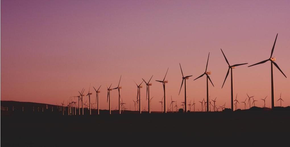des éoliennes au coucher du soleil