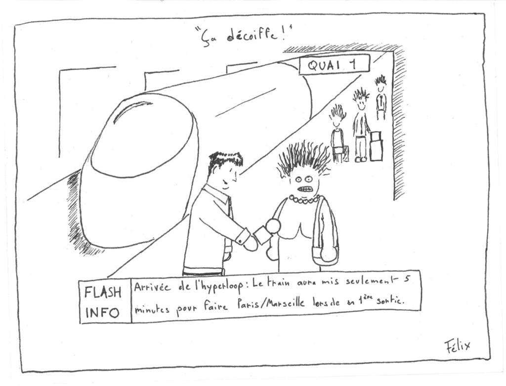 dessin de presse sur le thème de l'Hyperloop