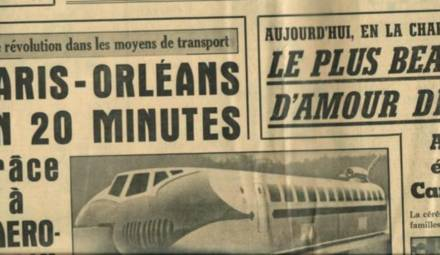 """""""Une"""" du Parisien Libéré mettant en avant l'aérotrain"""