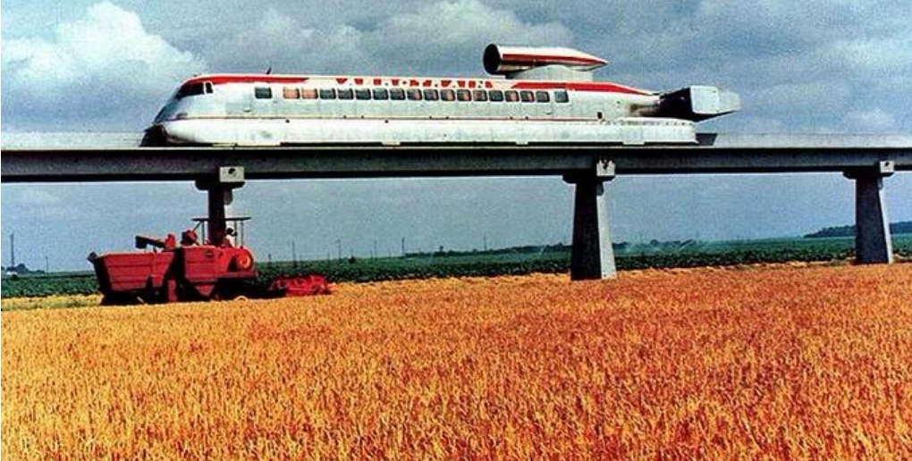 image d'archives de l'aérotrain, un projet similaire à l'Hyperloop.
