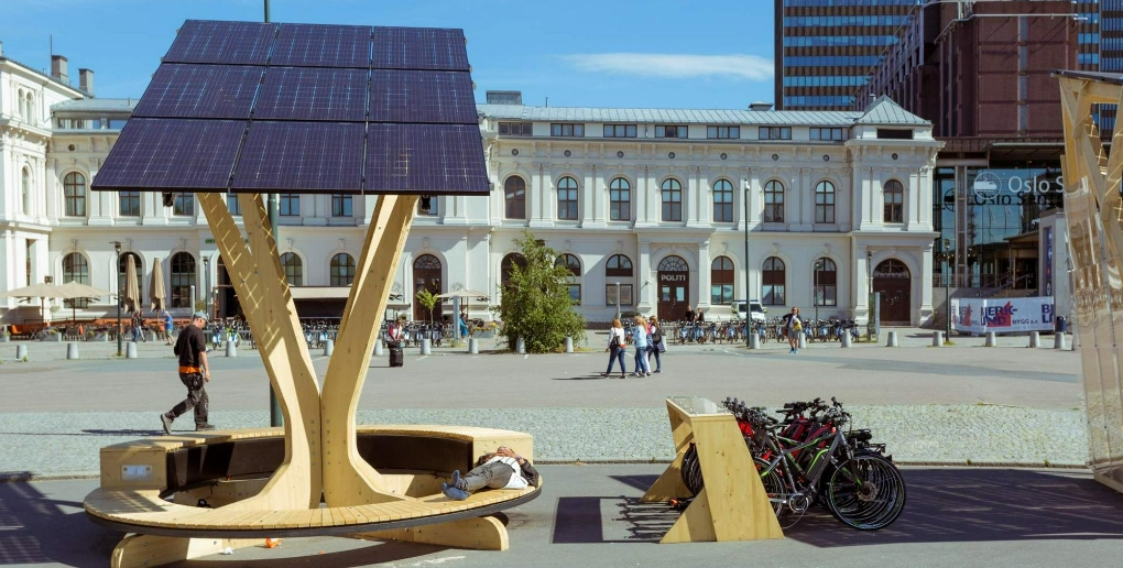 Un panneau solaire à Oslo
