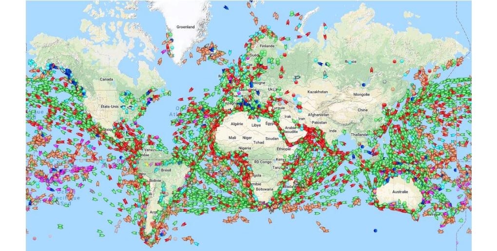 carte du nombre de navires naviguant dans le monde