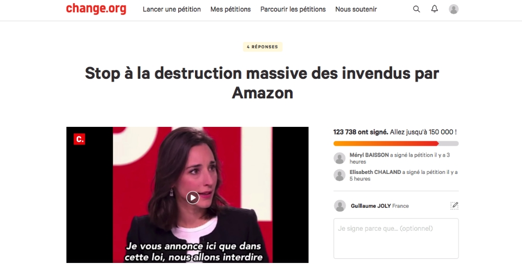 petition change.org destruction invendus