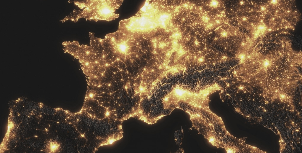 pollution lumineuse en europe