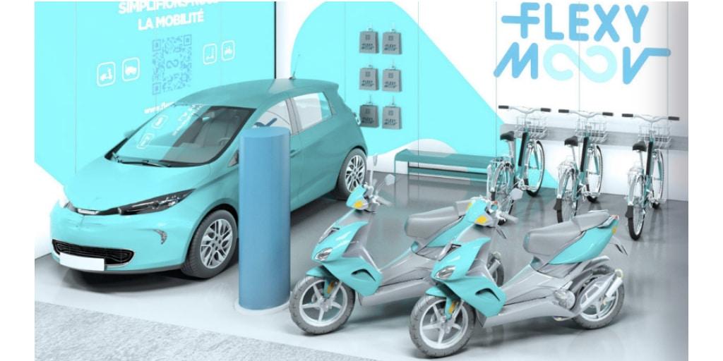 Un Flexy Center hub d'écomobilité de chez Flexy Moov