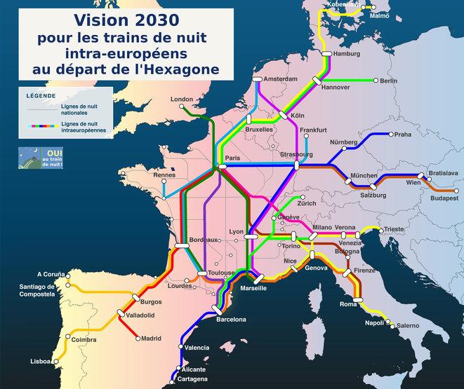 carte train de nuit europe - association oui au train de nuit
