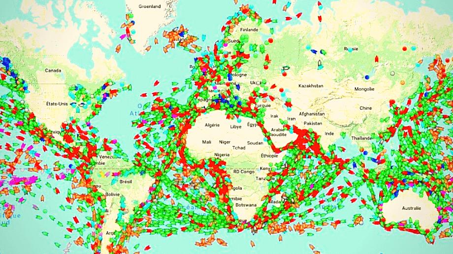 carte trafic maritime mondial