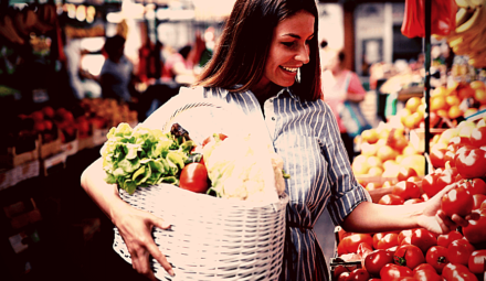 femme achats alimentaires