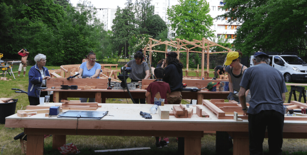 Chantier participatif Jardin Invisible, quartier Saragosse Pau