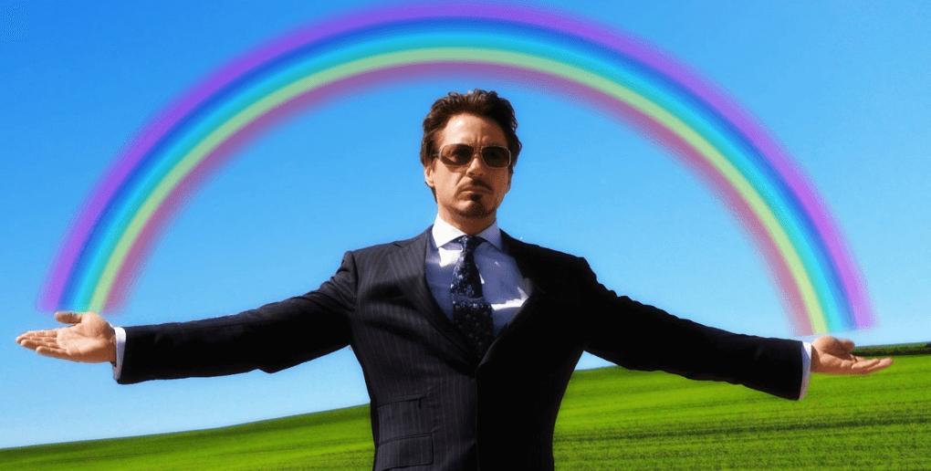 robert downey jr rainbow meme