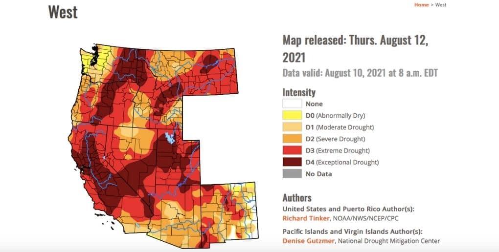 carte représentant la sécheresse aux États-Unis en apût 2021