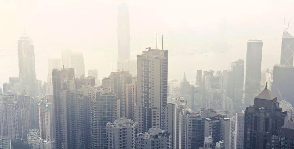 Ville chinoise lors d'un épisode de pollution atmosphérique