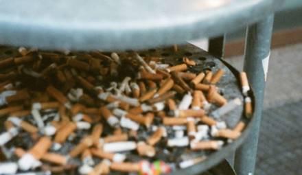 megots de cigarette dans poubelle